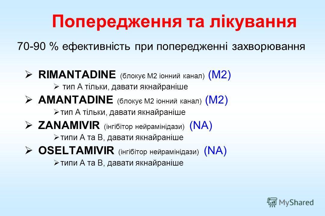 Попередження та лікування RIMANTADINE (блокує M2 іонний канал) (M2) тип A тільки, давати якнайраніше AMANTADINE (блокує M2 іонний канал) (M2) тип A тільки, давати якнайраніше ZANAMIVIR (інгібітор нейрамінідази) (NA) типи A та B, давати якнайраніше OS