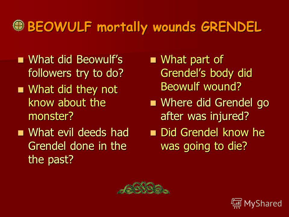 elements of evil in beowulf English: epic: from beowulf, part iii practice/homework study play the hero of an epic poem, such as beowulf good vs evil the glorification.