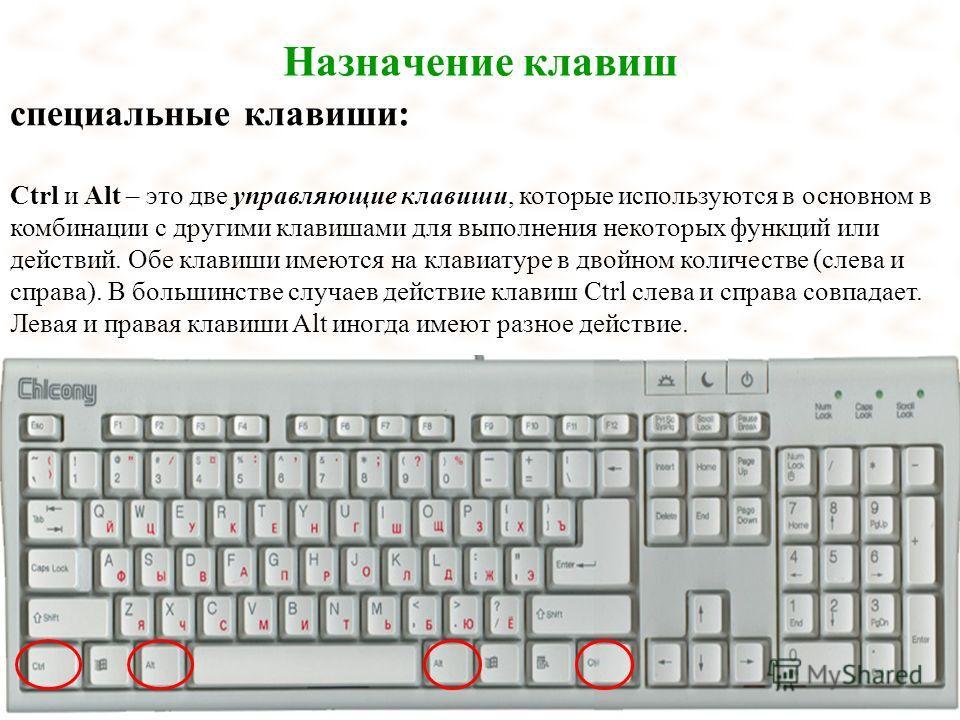 Назначение клавиш специальные клавиши: Ctrl и Alt – это две управляющие клавиши, которые используются в основном в комбинации с другими клавишами для выполнения некоторых функций или действий. Обе клавиши имеются на клавиатуре в двойном количестве (с