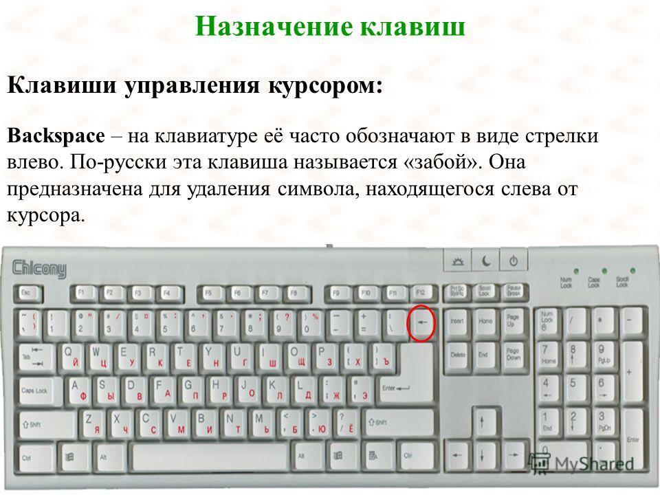 Назначение клавиш Клавиши управления курсором: Backspace – на клавиатуре её часто обозначают в виде стрелки влево. По-русски эта клавиша называется «забой». Она предназначена для удаления символа, находящегося слева от курсора.