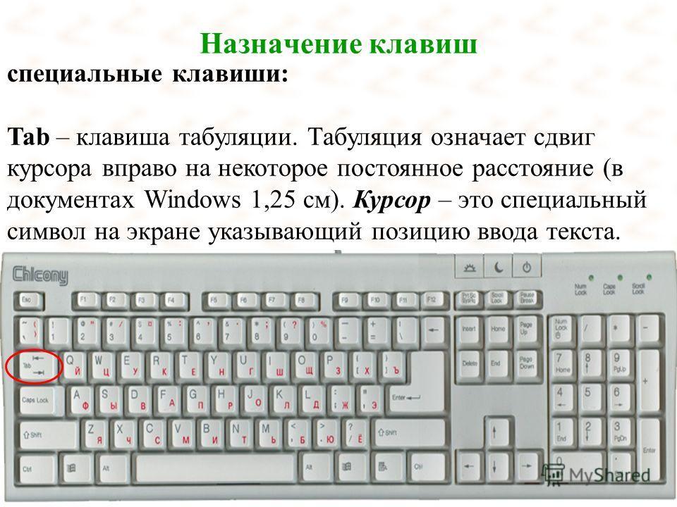 Назначение клавиш специальные клавиши: Tab – клавиша табуляции. Табуляция означает сдвиг курсора вправо на некоторое постоянное расстояние (в документах Windows 1,25 см). Курсор – это специальный символ на экране указывающий позицию ввода текста.
