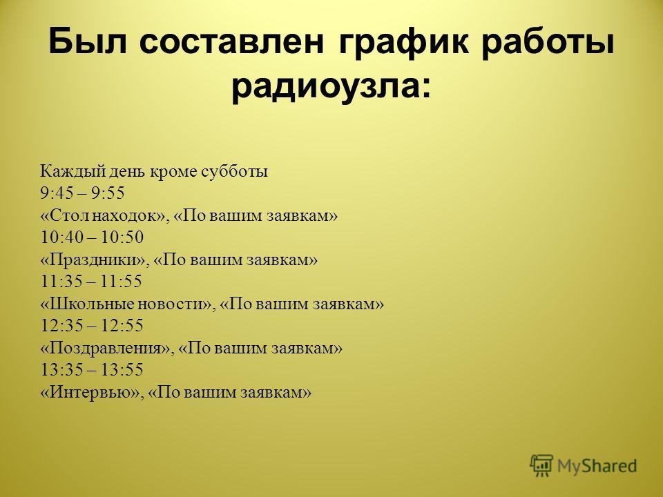 Был составлен график работы радиоузла : Каждый день кроме субботы 9:45 – 9:55 « Стол находок », « По вашим заявкам » 10:40 – 10:50 « Праздники », « По вашим заявкам » 11:35 – 11:55 « Школьные новости », « По вашим заявкам » 12:35 – 12:55 « Поздравлен