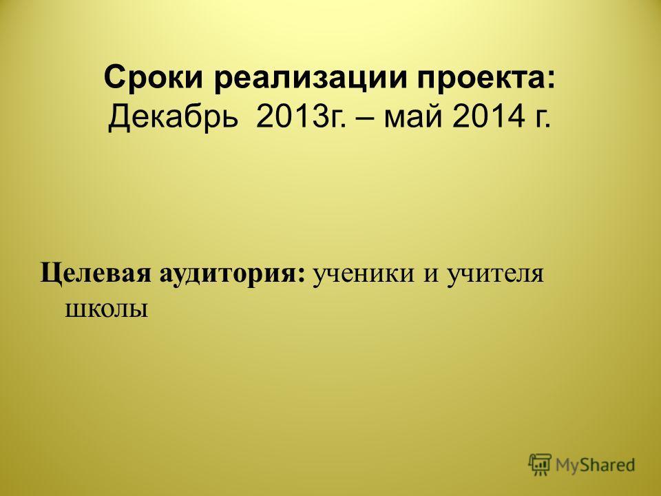 Сроки реализации проекта : Декабрь 2013 г. – май 2014 г. Целевая аудитория : ученики и учителя школы