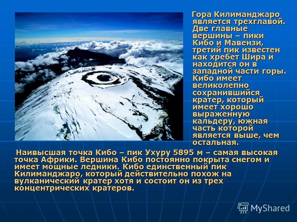 Гора Килиманджаро является трехглавой. Две главные вершины – пики Кибо и Мавензи, третий пик известен как хребет Шира и находится он в западной части горы. Кибо имеет великолепно сохранившийся кратер, который имеет хорошо выраженную кальдеру, южная ч