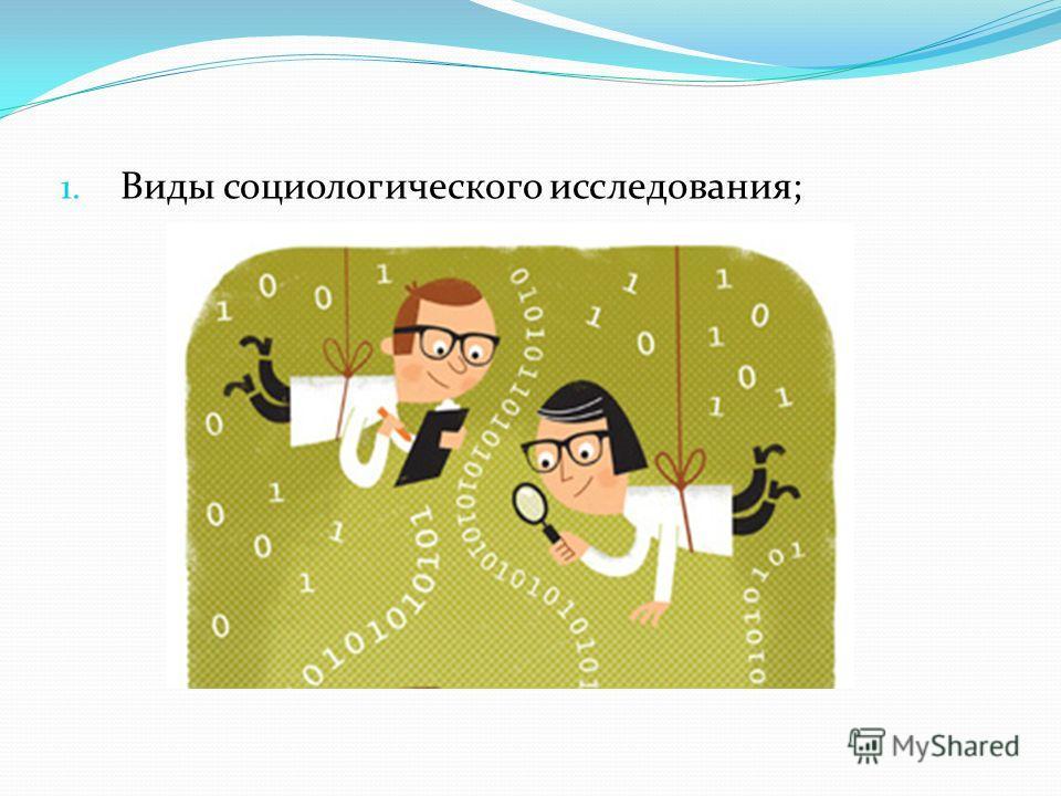1. Виды социологического исследования;