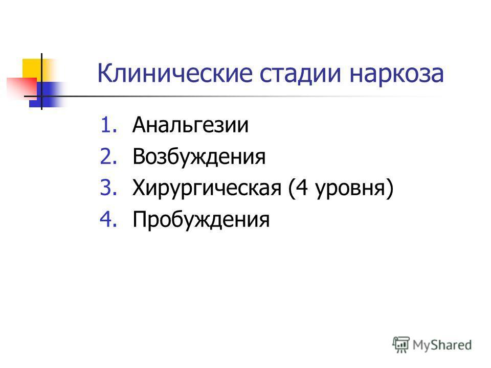 Клинические стадии наркоза 1. Анальгезии 2. Возбуждения 3. Хирургическая (4 уровня) 4.Пробуждения