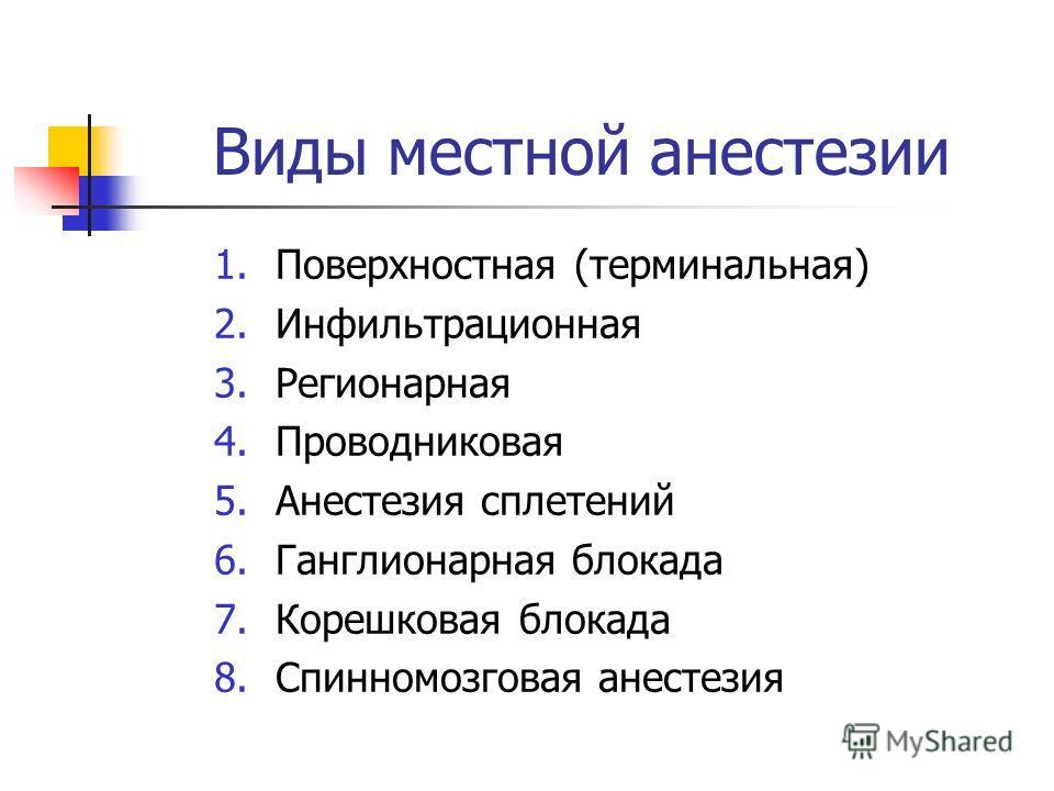 Виды местной анестезии 1. Поверхностная (терминальная) 2. Инфильтрационная 3. Регионарная 4. Проводниковая 5. Анестезия сплетений 6. Ганглионарная блокада 7. Корешковая блокада 8. Спинномозговая анестезия