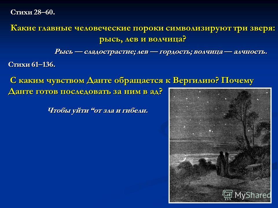 Стихи 28–60. Какие главные человеческие пороки символизируют три зверя: рысь, лев и волчица? Рысь сладострастие; лев гордость; волчица алчность. Стихи 61–136. С каким чувством Данте обращается к Вергилию? Почему Данте готов последовать за ним в ад? Ч