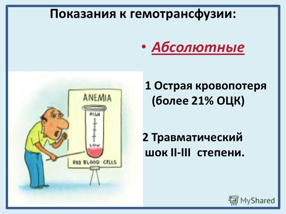 Показания к гемотрансфузии: Абсолютные 1 Острая кровопотеря (более 21% ОЦК) 2 Травматический шок II-III степени.