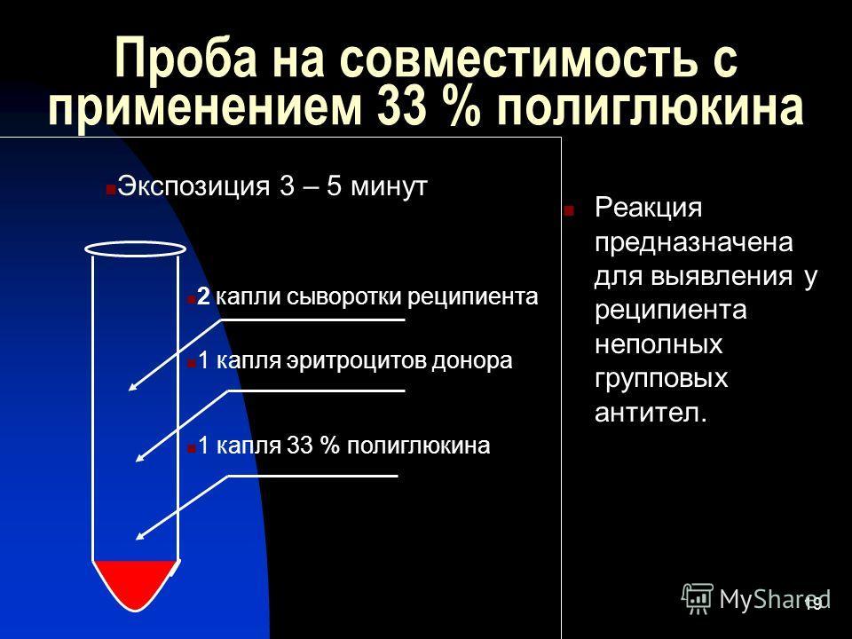 19 Проба на совместимость с применением 33 % полиглюкина Реакция предназначена для выявления у реципиента неполных групповых антител. 2 капли сыворотки реципиента 1 капля эритроцитов донора 1 капля 33 % полиглюкина Экспозиция 3 – 5 минут