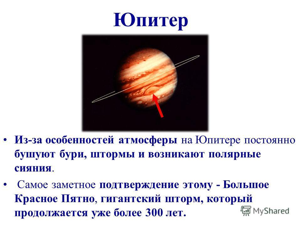 Юпитер Из-за особенностей атмосферы на Юпитере постоянно бушуют бури, штормы и возникают полярные сияния. Самое заметное подтверждение этому - Большое Красное Пятно, гигантский шторм, который продолжается уже более 300 лет.