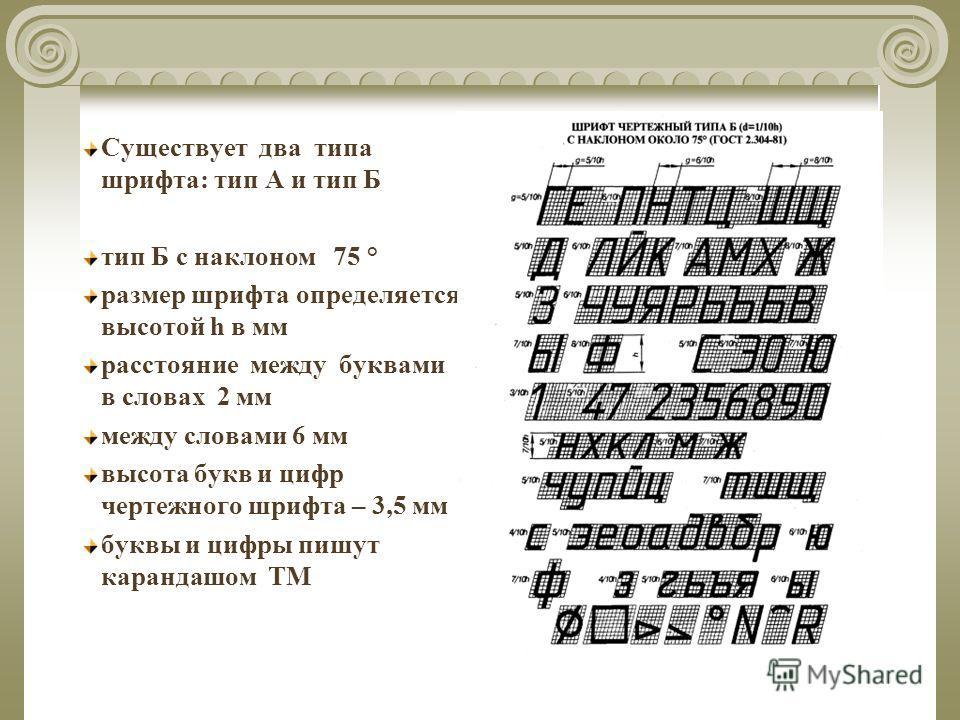 Существует два типа шрифта: тип А и тип Б тип Б с наклоном 75 ° размер шрифта определяется высотой h в мм расстояние между буквами в словах 2 мм между словами 6 мм высота букв и цифр чертежного шрифта – 3,5 мм буквы и цифры пишут карандашом ТМ