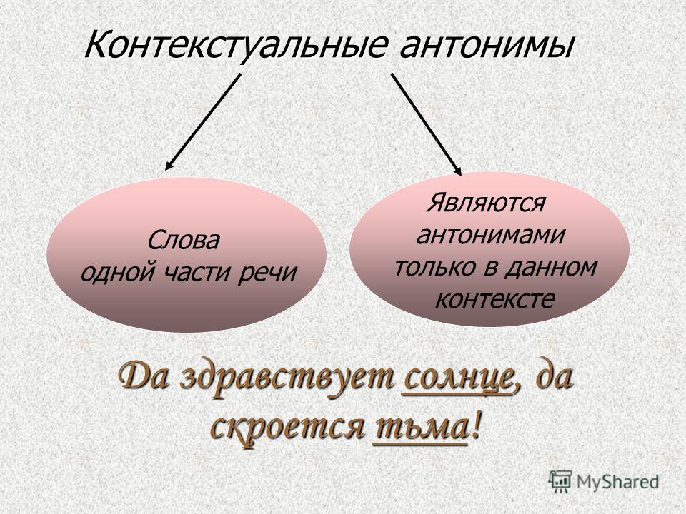 АНТОНИМЫ выражают временные отношения (рано – поздно, днём – ночью); пространственные (север – юг, центр – окраина); количественные (избыток – недостаток); качественные (красота – безобразие, дружественный - враждебный).