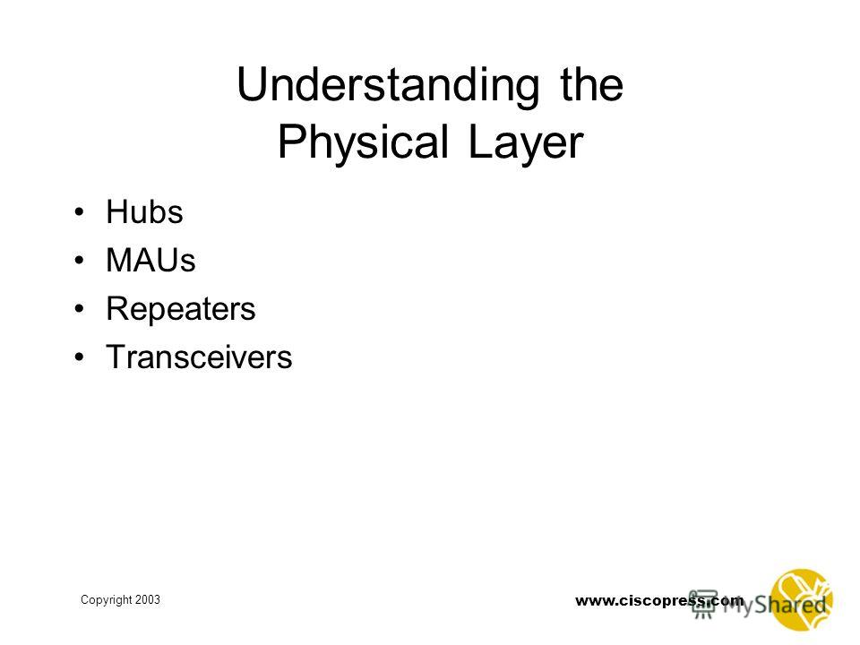 www.ciscopress.com Copyright 2003 Understanding the Physical Layer Hubs MAUs Repeaters Transceivers
