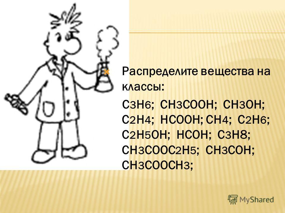 Распределите вещества на классы: С 3 Н 6 ; СН 3 СООН; СН 3 ОН; С 2 Н 4 ; НСООН; СН 4 ; С 2 Н 6 ; С 2 Н 5 ОН; НСОН; С 3 Н8; СН 3 СООС 2 Н 5 ; СН 3 СОН; СН 3 СООСН 3 ;