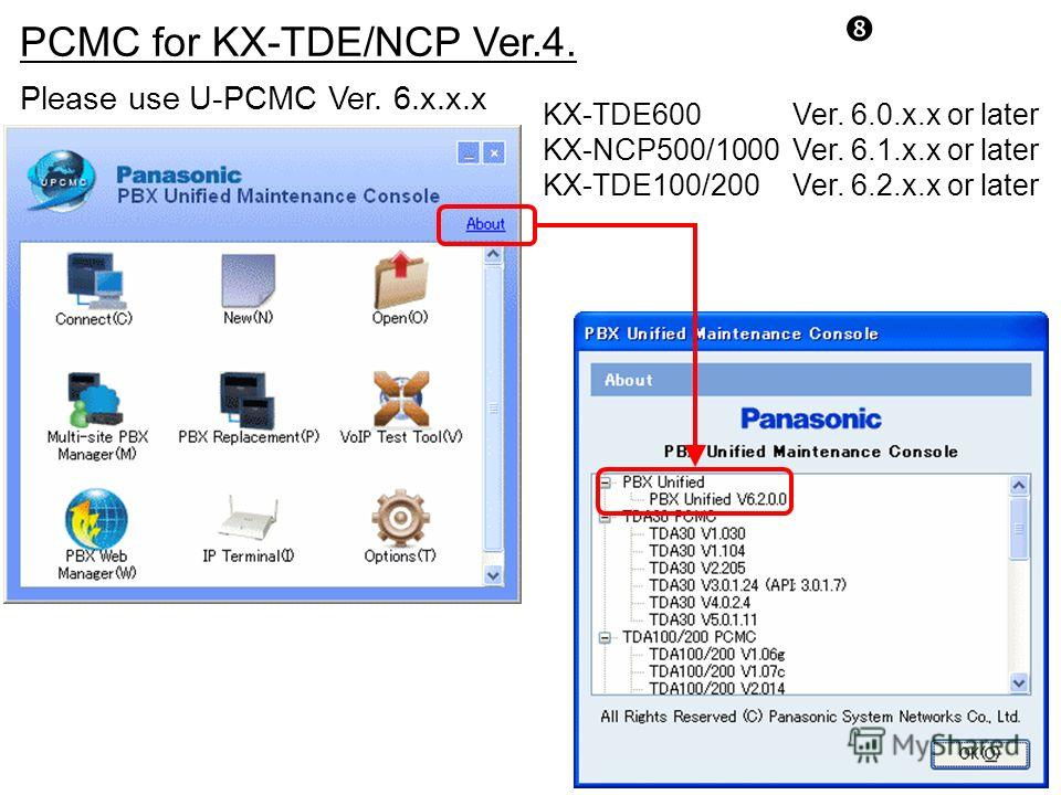 PCMC for KX-TDE/NCP Ver.4. Please use U-PCMC Ver. 6.x.x.x KX-TDE600Ver. 6.0.x.x or later KX-NCP500/1000Ver. 6.1.x.x or later KX-TDE100/200Ver. 6.2.x.x or later