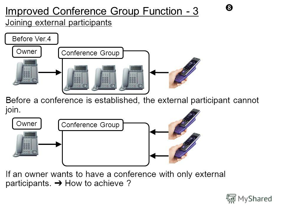 Owner Joining external participants Conference Group If an owner wants to have a conference with only external participants. How to achieve ? Before Ver.4 Conference Group Before a conference is established, the external participant cannot join. Owne