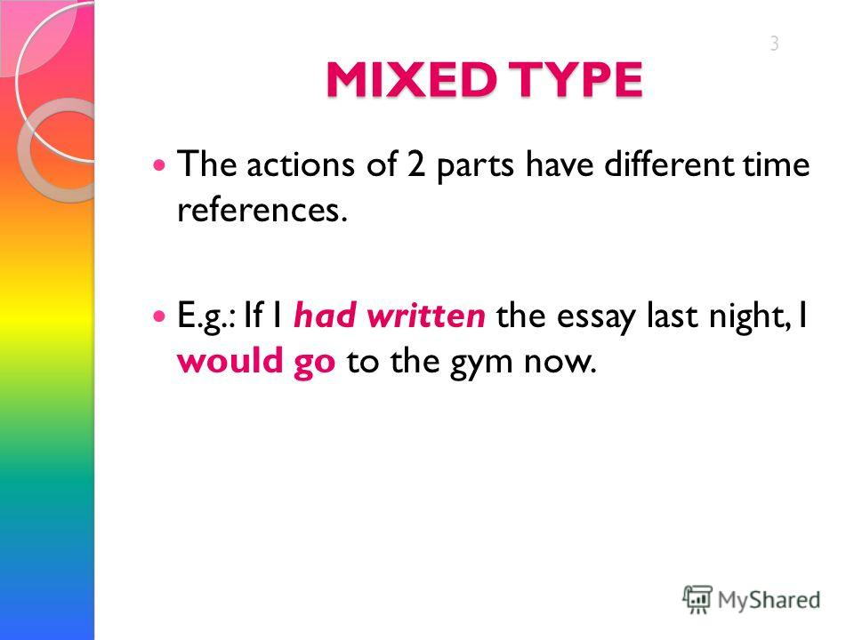 MIXED TYPE The actions of 2 parts have different time references. E.g.: If I had written the essay last night, I would go to the gym now. 3