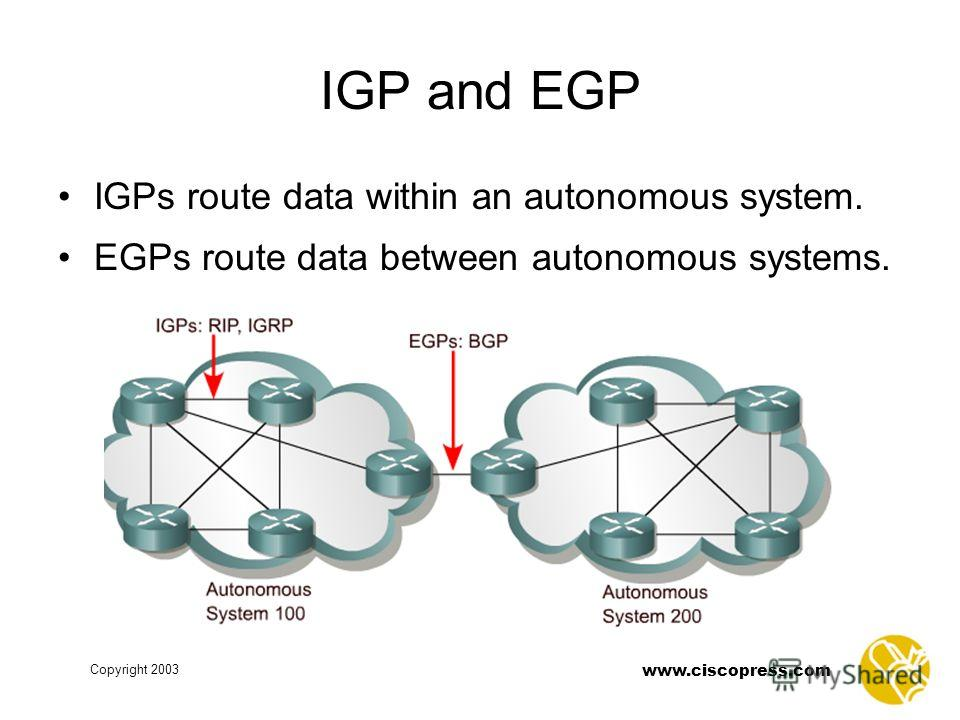www.ciscopress.com Copyright 2003 IGP and EGP IGPs route data within an autonomous system. EGPs route data between autonomous systems.