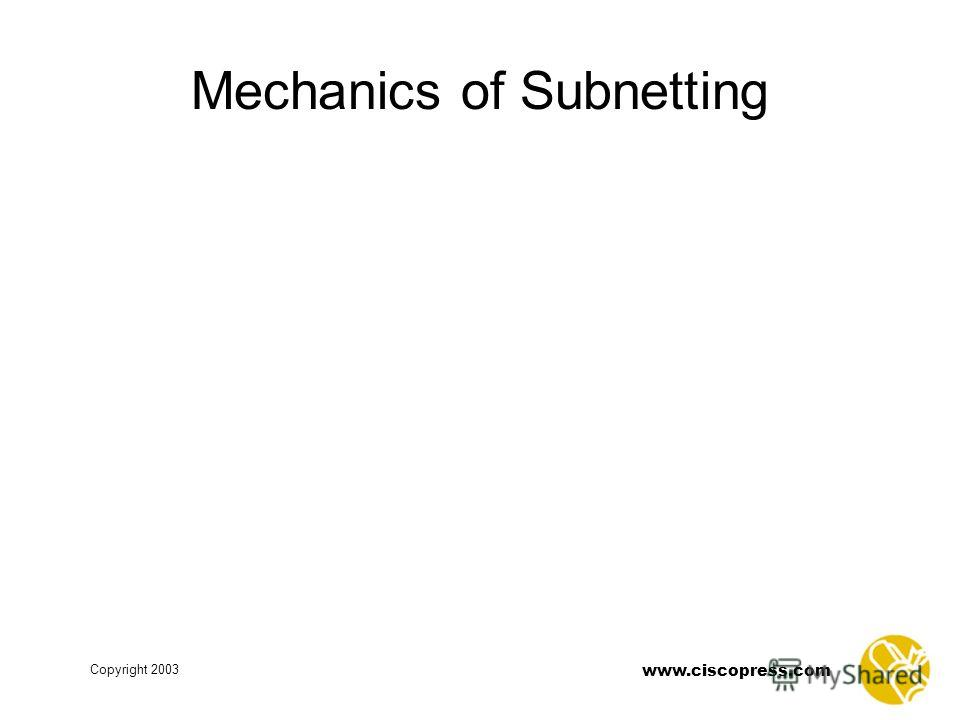 www.ciscopress.com Copyright 2003 Mechanics of Subnetting