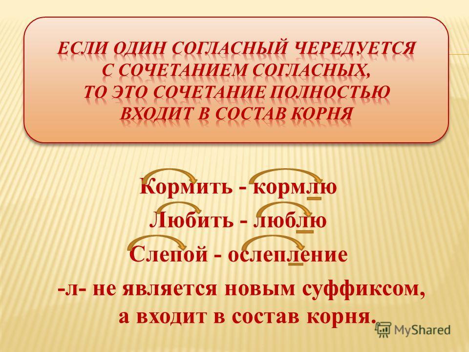 Кормить - кормлю Любить - люблю Слепой - ослепление -л- не является новым суффиксом, а входит в состав корна.