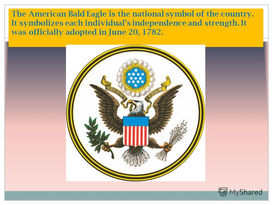 The American Bald Eagle is the national symbol of the country. It symbolizes each individuals independence and strength. It was officially adopted in June 20, 1782.