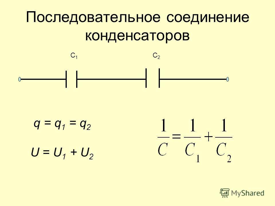 Последовательное соединение конденсаторов q = q 1 = q 2 U = U 1 + U 2 С1С1 С2С2
