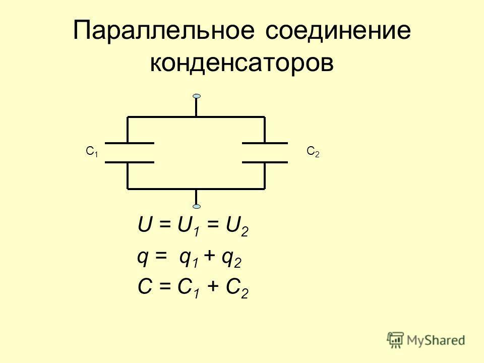 Параллельное соединение конденсаторов U = U 1 = U 2 q = q 1 + q 2 C = C 1 + C 2 C1C1 C2C2