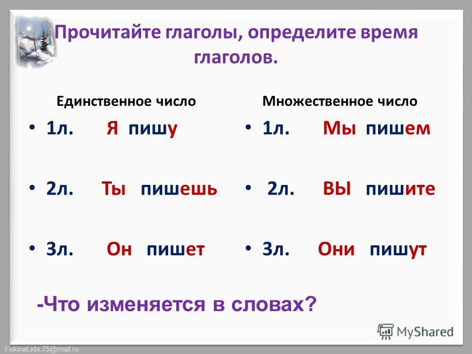 FokinaLida.75@mail.ru Прочитайте глаголы, определите время глаголов. Единственное число 1 л. Я пишу 2 л. Ты пишешь 3 л. Он пишет Множественное число 1 л. Мы пишем 2 л. ВЫ пишите 3 л. Они пишут -Что изменяется в словах?