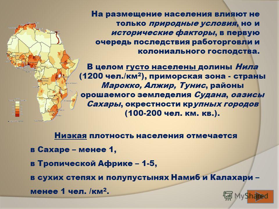 В целом густо населены долины Нила (1200 чел./км 2 ), приморская зона - страны Марокко, Алжир, Тунис, районы орошаемого земледелия Судана, оазисы Сахары, окрестности крупных городов (100-200 чел. км. кв.). Низкая плотность населения отмечается в Саха