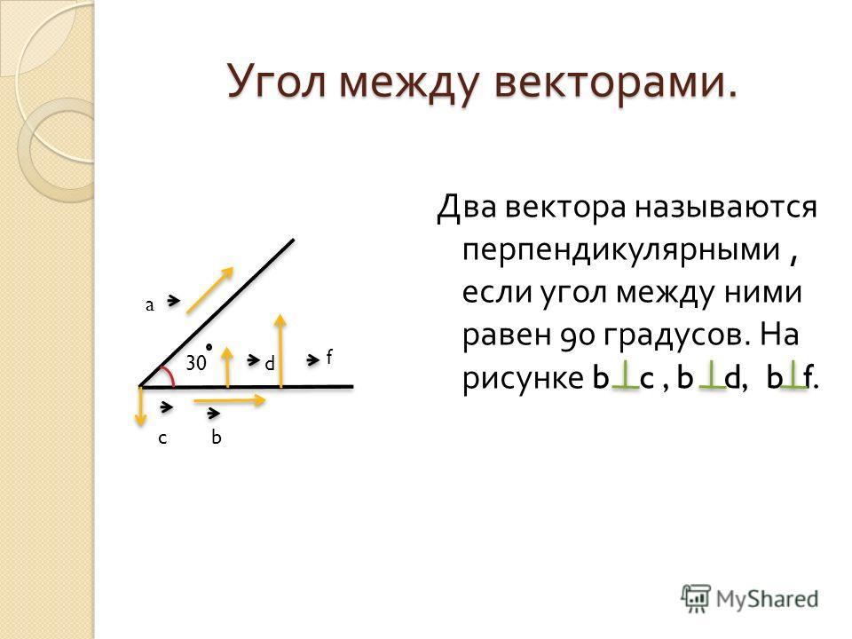 Два вектора называются перпендикулярными, если угол между ними равен 90 градусов. На рисунке b c, b d, b f. 30 f d cb a