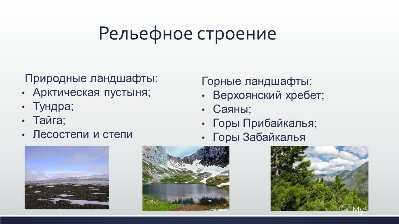 Природные ландшафты: Арктическая пустыня; Тундра; Тайга; Лесостепи и степи Рельефное строение Горные ландшафты: Верхоянский хребет; Саяны; Горы Прибайкалья; Горы Забайкалья