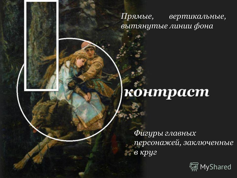 контраст Фигуры главных персонажей, заключенные в круг Прямые, вертикальные, вытянутые линии фона