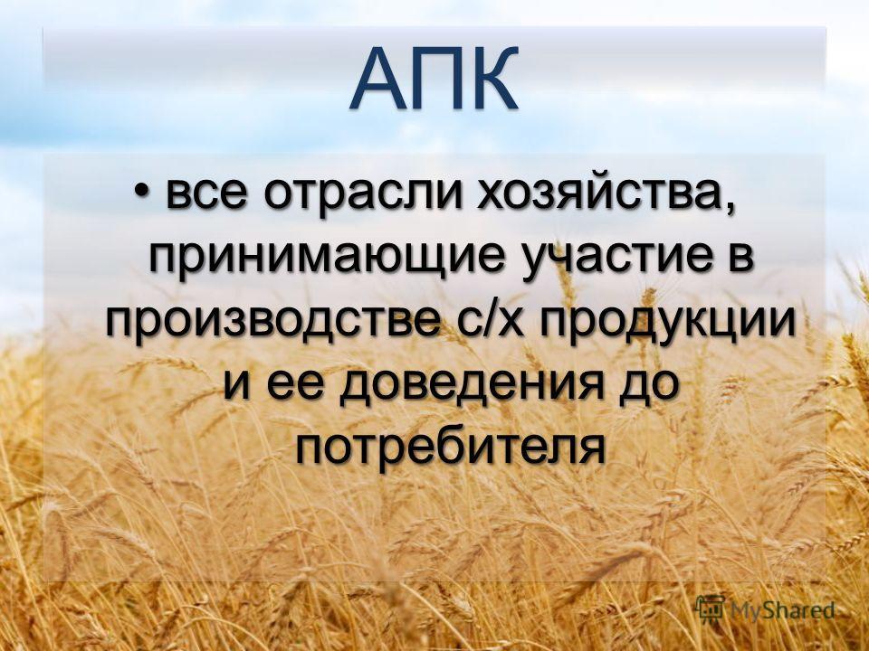 АПК все отрасли хозяйства, принимающие участие в производстве с/х продукции и ее доведения до потребителя все отрасли хозяйства, принимающие участие в производстве с/х продукции и ее доведения до потребителя