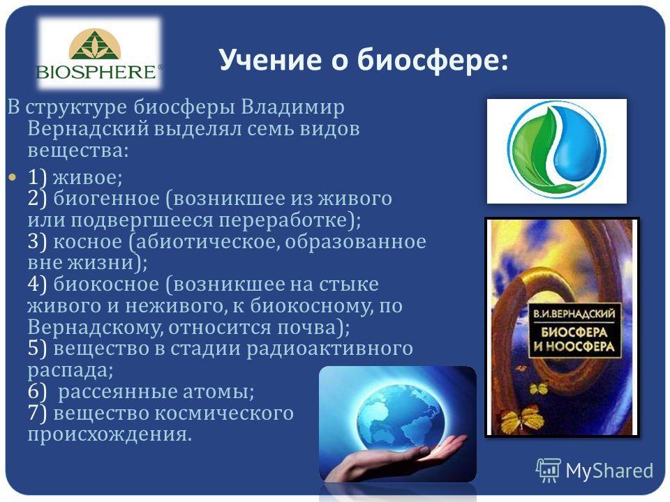 Учение о биосфере : В структуре биосферы Владимир Вернадский выделял семь видов вещества : 1) живое ; 2) биогенное ( возникшее из живого или подвергшееся переработке ); 3) косное ( абиотическое, образованное вне жизни ); 4) биокосное ( возникшее на с