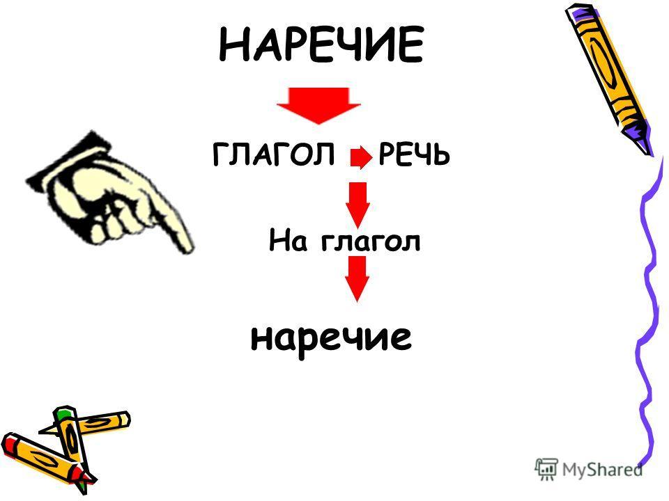 ГЛАГОЛ РЕЧЬ На глагол наречие