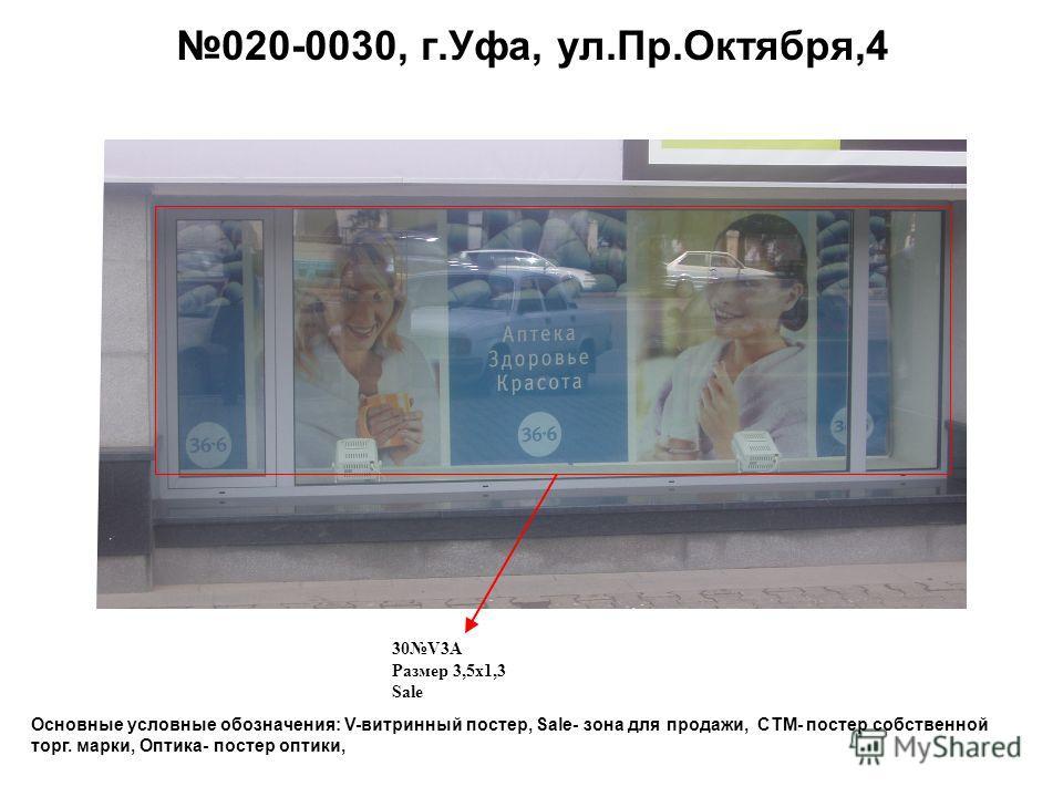 Основные условные обозначения: V-витринный постер, Sale- зона для продажи, СТМ- постер собственной торг. марки, Оптика- постер оптики, 020-0030, г.Уфа, ул.Пр.Октября,4 30V3A Размер 3,5 х 1,3 Sale