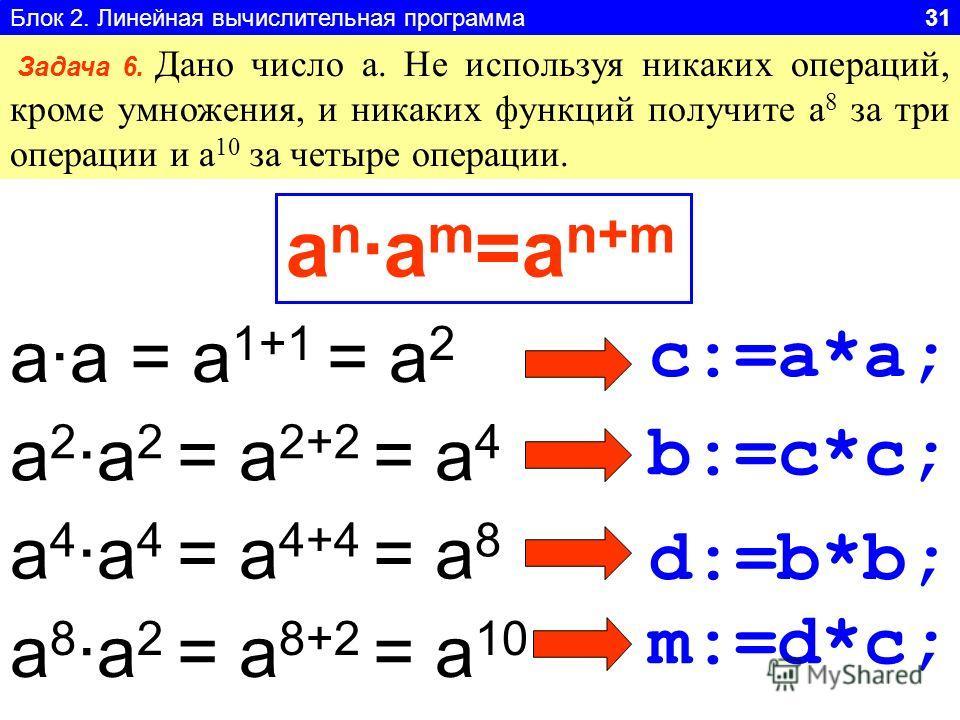 Блок 2. Линейная вычислительная программа 31 Задача 6. Дано число а. Не используя никаких операций, кроме умножения, и никаких функций получите а 8 за три операции и а 10 за четыре операции. a 2a 2 = a 2+2 = a 4 a 4a 4 = a 4+4 = a 8 aa = a 1+1 = a 2