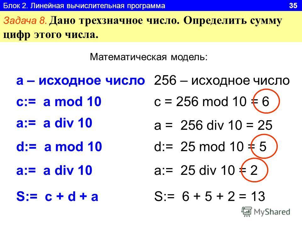 Блок 2. Линейная вычислительная программа 35 Задача 8. Дано трехзначное число. Определить сумму цифр этого числа. Математическая модель: а – исходное число с:= a mod 10 256 – исходное число c = 256 mod 10 = 6 a:= a div 10 a = 256 div 10 = 25 d:= a mo