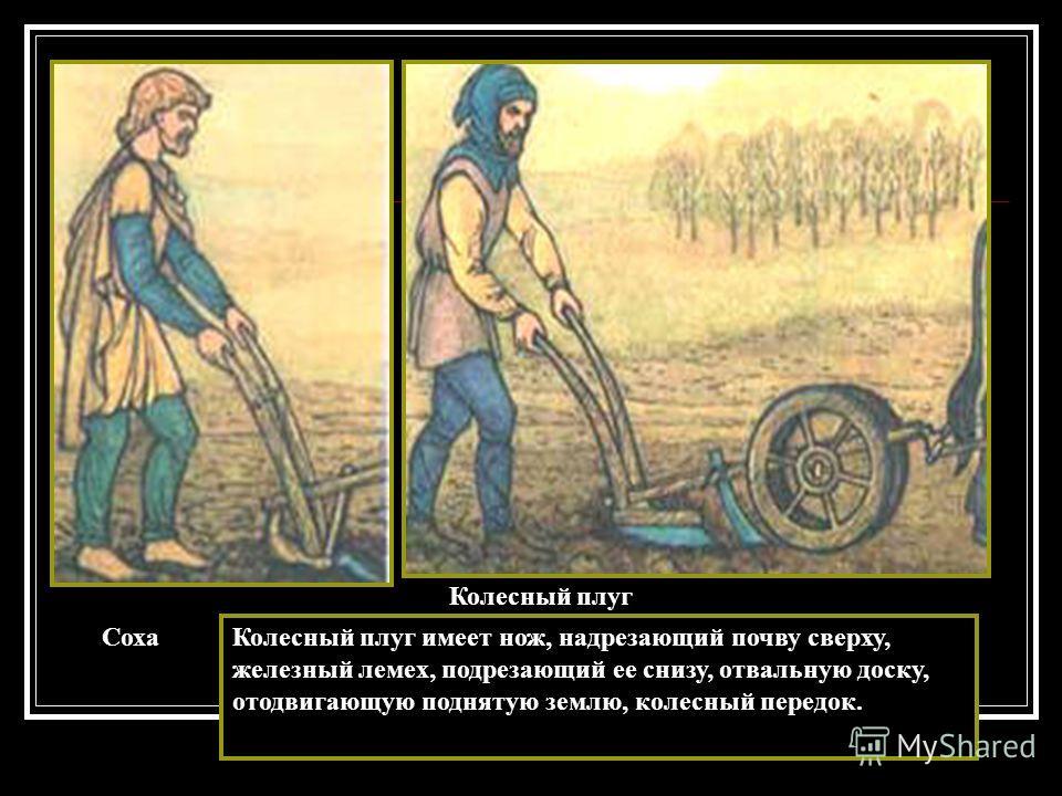 Соха Колесный плуг Колесный плуг имеет нож, надрезающий почву сверху, железный лемех, подрезающий ее снизу, отвальную доску, отодвигающую поднятую землю, колесный передок.
