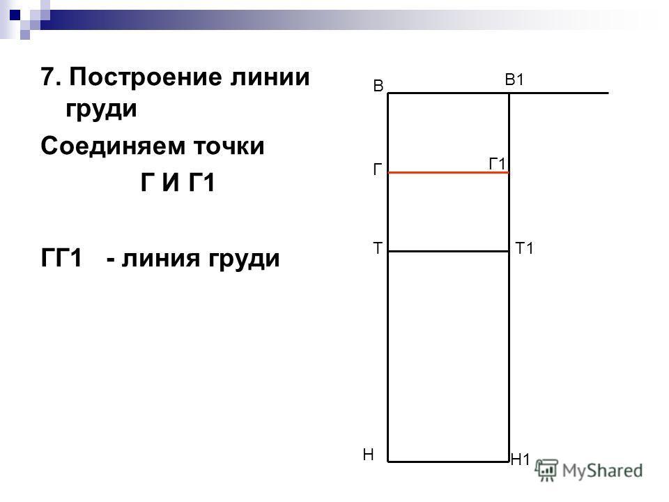 7. Построение линии груди Соединяем точки Г И Г1 ГГ1 - линия груди В Н В1 Н1 ТТ1 Г Г1
