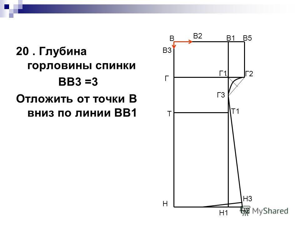 20. Глубина горловины спинки ВВ3 =3 Отложить от точки В вниз по линии ВВ1 В Н В1 Н1 Т Т1 Г Г1 В5 Г2 Г3 Н2 Н3 В2 В3