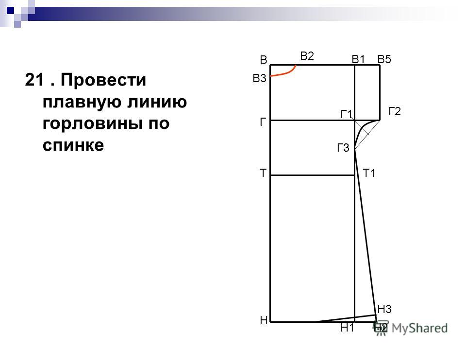 21. Провести плавную линию горловины по спинке В Н В1 Н1 ТТ1 Г Г1 В5 Г2 Г3 Н2 Н3 В2 В3