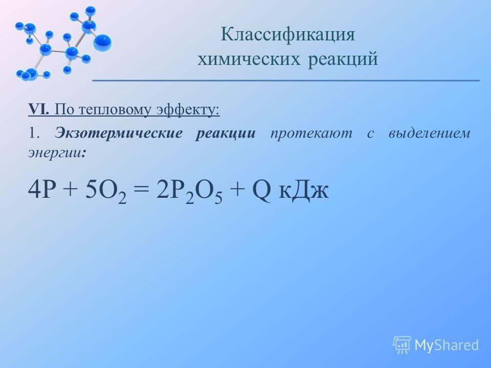 VI. По тепловому эффекту: 1. Экзотермические реакции протекают с выделением энергии: Классификация химических реакций 4P + 5O 2 = 2P 2 O 5 + Q к Дж