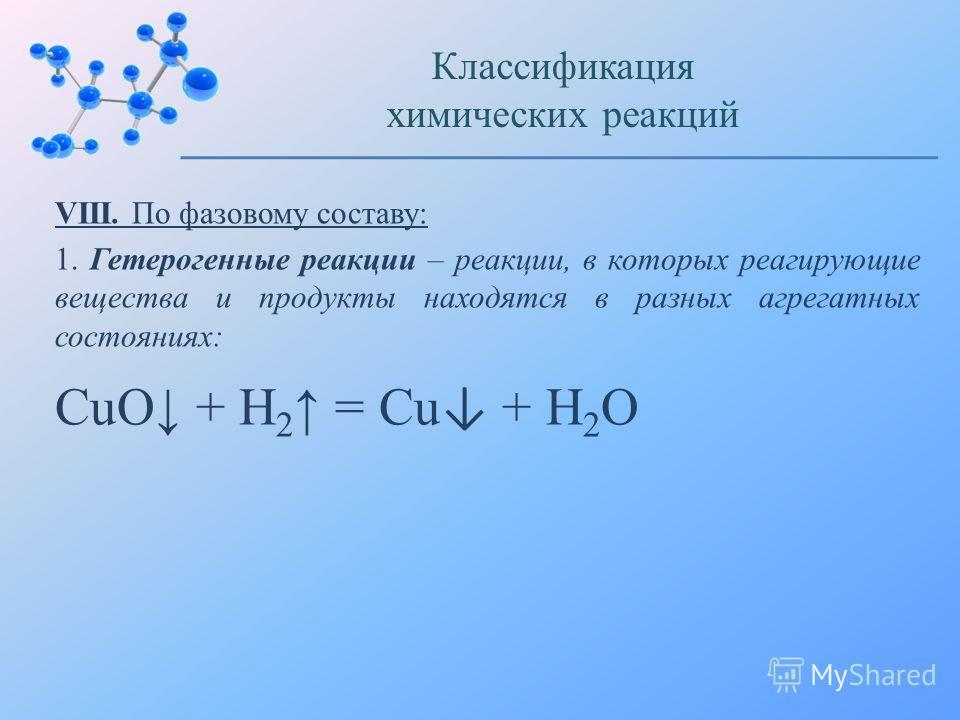 VIII. По фазовому составу: 1. Гетерогенные реакции – реакции, в которых реагирующие вещества и продукты находятся в разных агрегатных состояниях: Классификация химических реакций CuO + H 2 = Cu + H 2 O