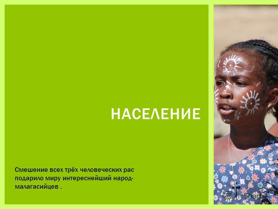НАСЕЛЕНИЕ Смешение всех трёх человеческих рас подарило миру интереснейший народ- малагасийцев.