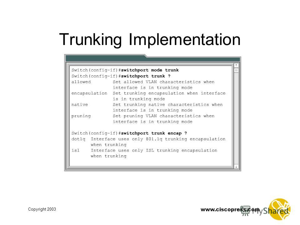 www.ciscopress.com Copyright 2003 Trunking Implementation