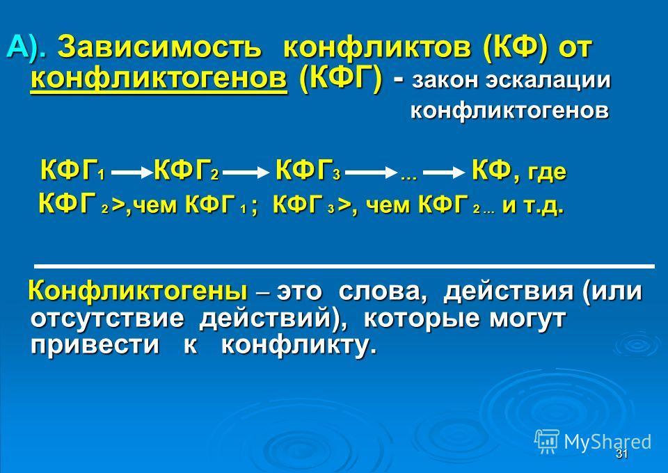31 А). Зависимость конфликтов (КФ) от конфликтогенов (КФГ) - закон эскалации конфликтогенов конфликтогенов КФГ 1 КФГ 2 КФГ 3 … КФ, где КФГ 1 КФГ 2 КФГ 3 … КФ, где КФГ 2 >,чем КФГ 1 ; КФГ 3 >, чем КФГ 2 … и т.д. КФГ 2 >,чем КФГ 1 ; КФГ 3 >, чем КФГ 2