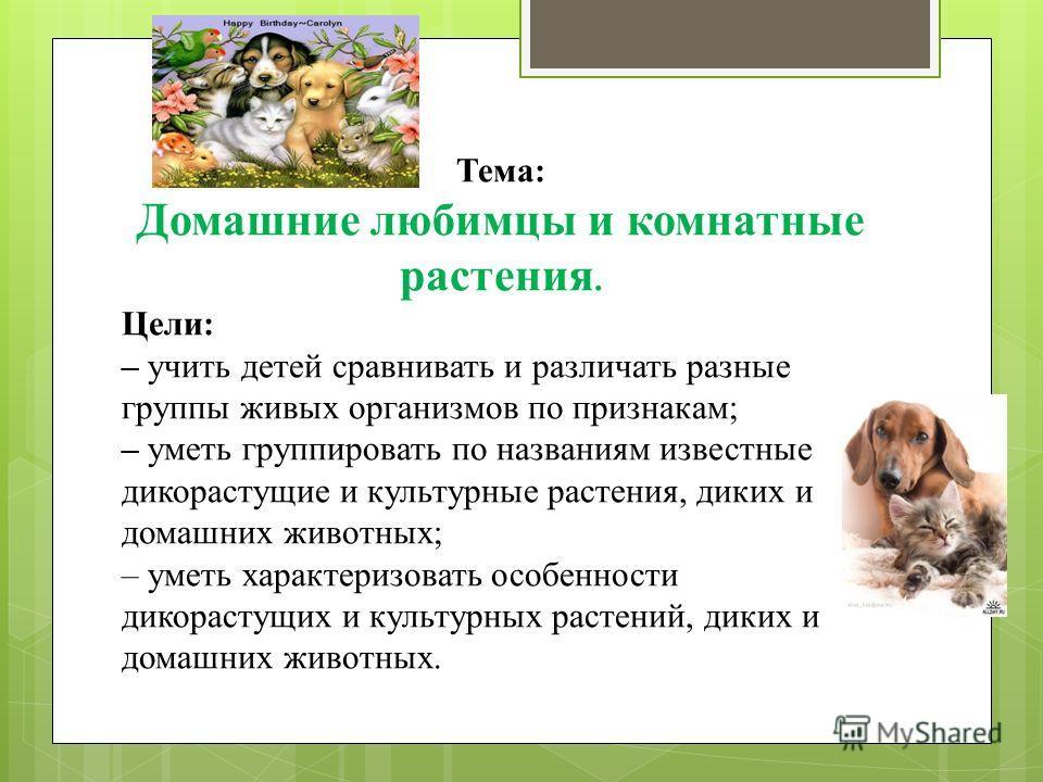 Тема: Домашние любимцы и комнатные растения. Цели: – учить детей сравнивать и различать разные группы живых организмов по признакам; – уметь группировать по названиям известные дикорастущие и культурные растения, диких и домашних животных; – уметь ха