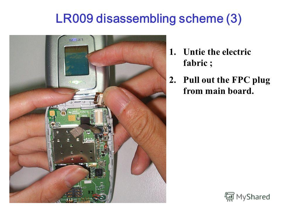 1. Untie the electric fabric ; 2. Pull out the FPC plug from main board. LR009 disassembling scheme (3)
